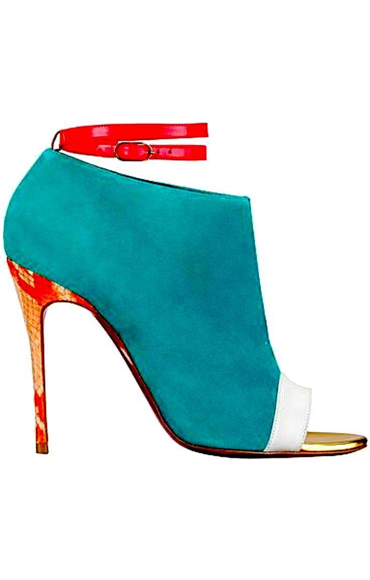4529e3e420a Teal peep toe booties with fuchsia and white gold trim - Christian ...
