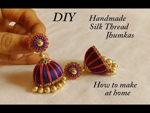 DIY    how to make designer silk thread bridal jhumka earrings at ...