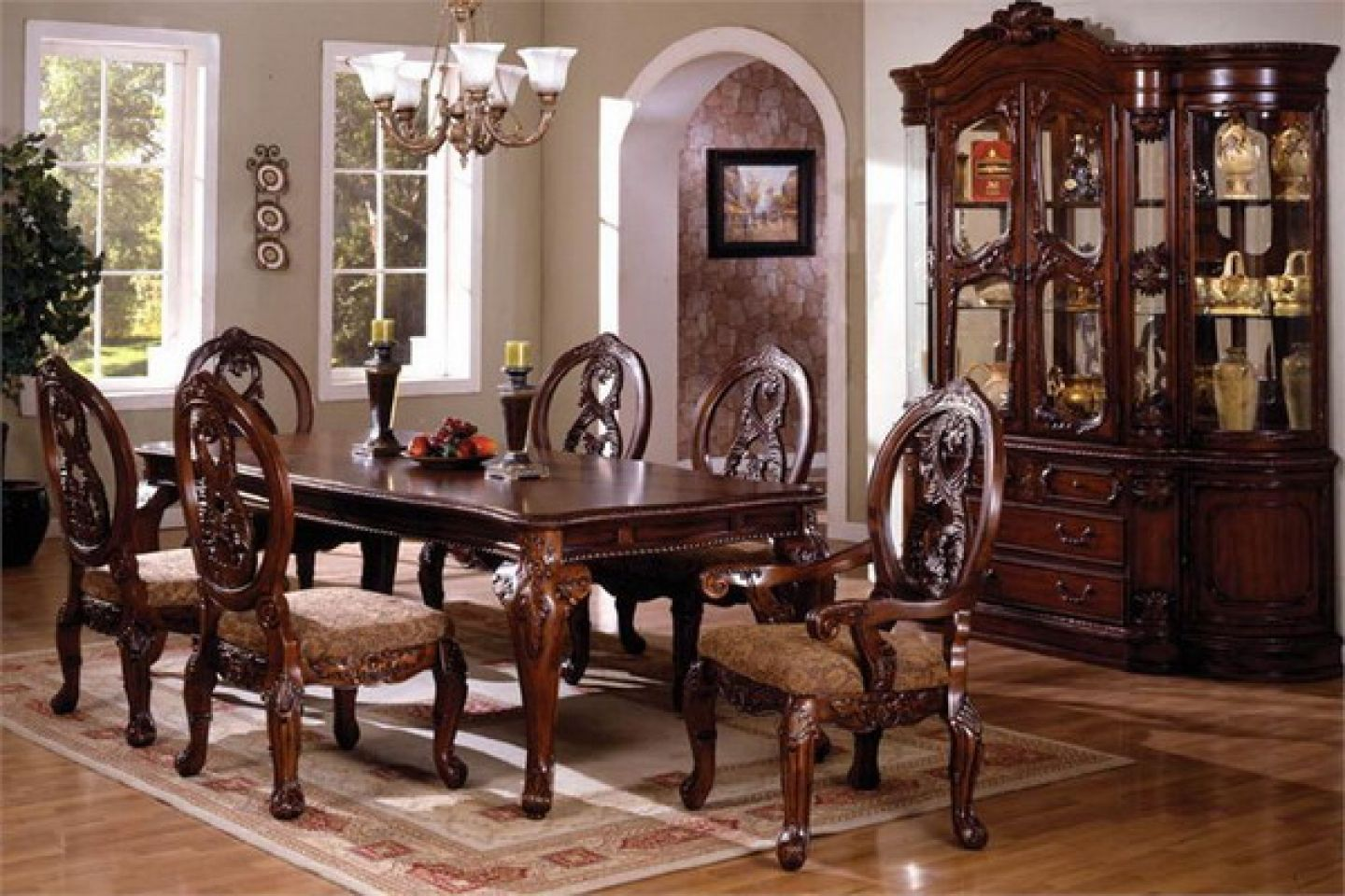 The elegant traditional tuscany dining table set is the for Dining set decoration