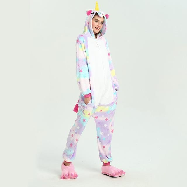 LLYGE Winter Frauen Langarm Tier Pyjamas Set 2018 Warme Kawaii Flanell Mit Kapuze Weiche Pyjamas frauen Cartoon Einhorn Nachtwäsche   - Products -