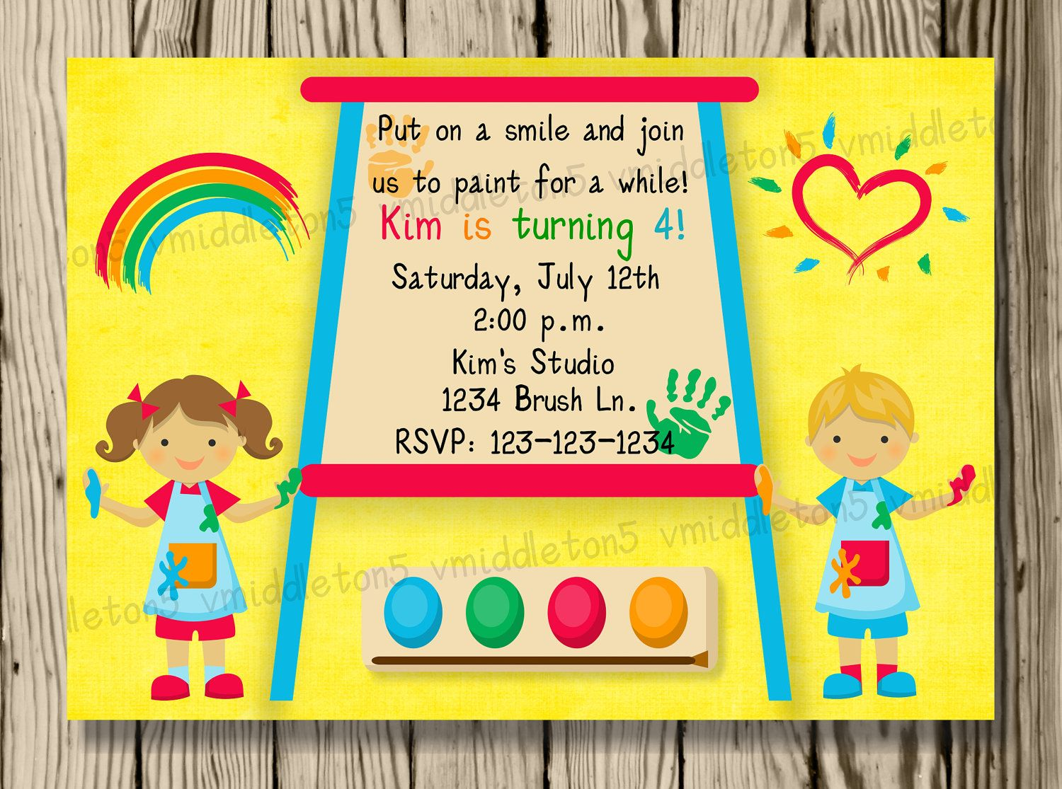 Kids Painting or Art Party Invitation – Invitation for Kids Party