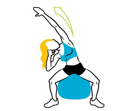How To Get Shakira's Abs: Sit & Reach. Balance on a stability ball, toes out and hands behind head. Lean right, extending left arm overhead and reaching right elbow toward right knee (as shown). Return to start; repeat on opposite side for one rep. Do 15 reps. #SelfMagazine