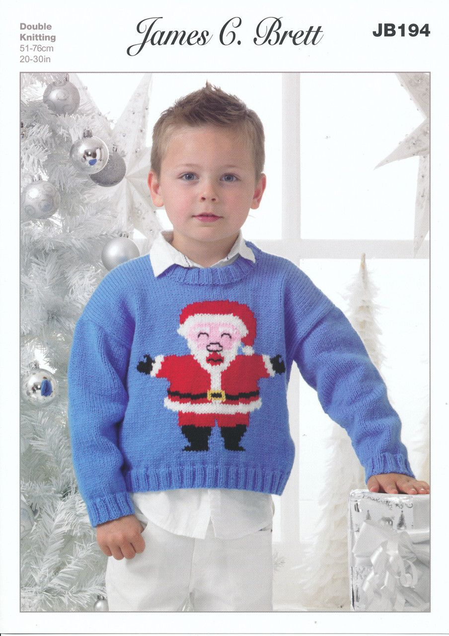 James Brett Double Knitting Pattern Kids Christmas Santa Jumper Sweater JB194