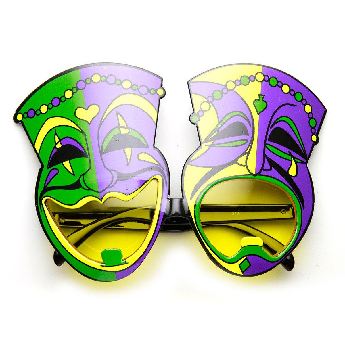 Mardi Gras Laugh Now Cry Later Comedy Festival Mask Sunglasses ...