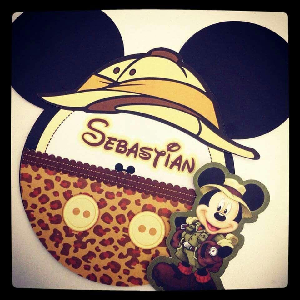 Tarjeta Invitación Mickey Safari Invitaciones Mickey