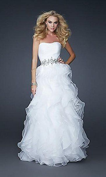 YASIOU Hochzeitskleid Damen Elegant Lang Weiß Prinzessin Mädchen ...