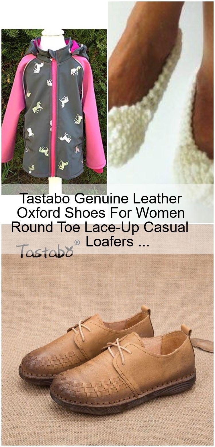 Tastabo Echtes Leder Oxford Schuhe Für Frauen Runde Kappe LaceUp Casual Loafers  Tastabo Echtes Leder Oxford Schuhe Für Frauen Runde Kappe LaceUp Casual Loafers...