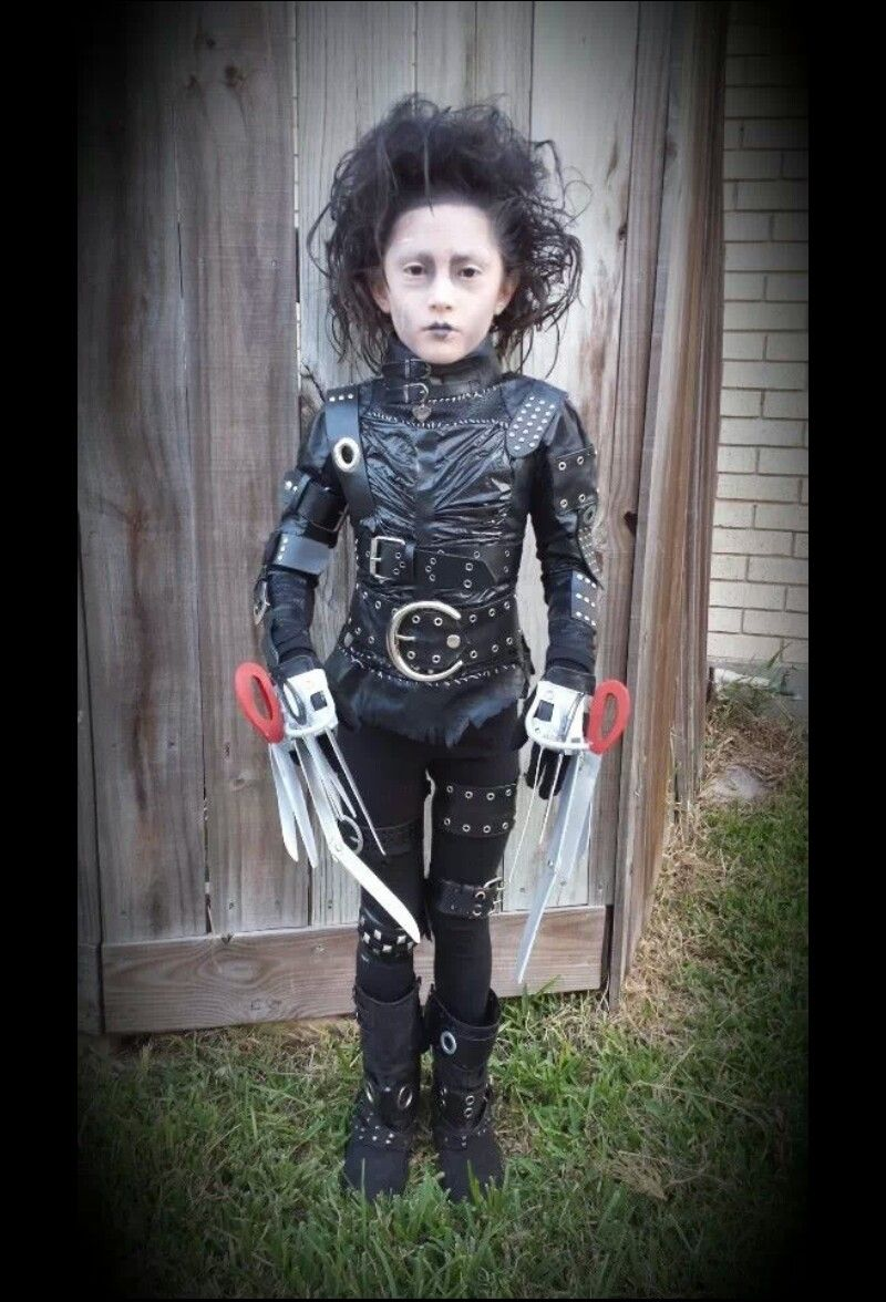 My 8yr Old Sister As Edward Scissor Hands With Images Edward Scissorhands Costume Black Halloween Costumes Edward Scissorhands