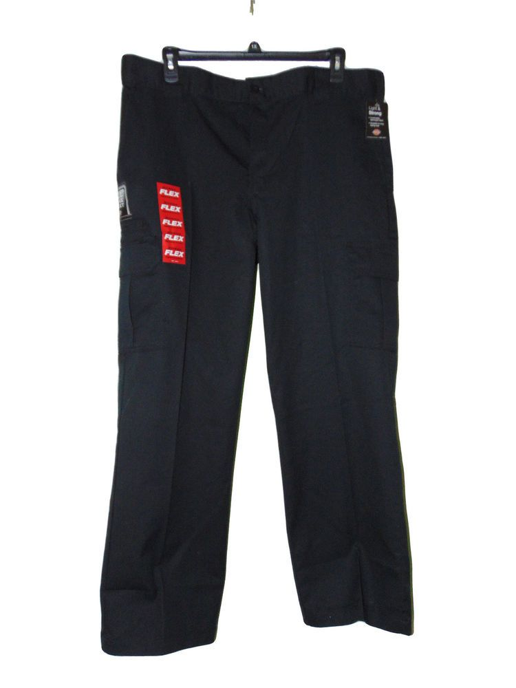 00650122 Dickies Cargo Pants Size 40 X 32 Black Flex Twill Nwt Relaxed Fit Straight  Leg #Dickies #Work #Workwear