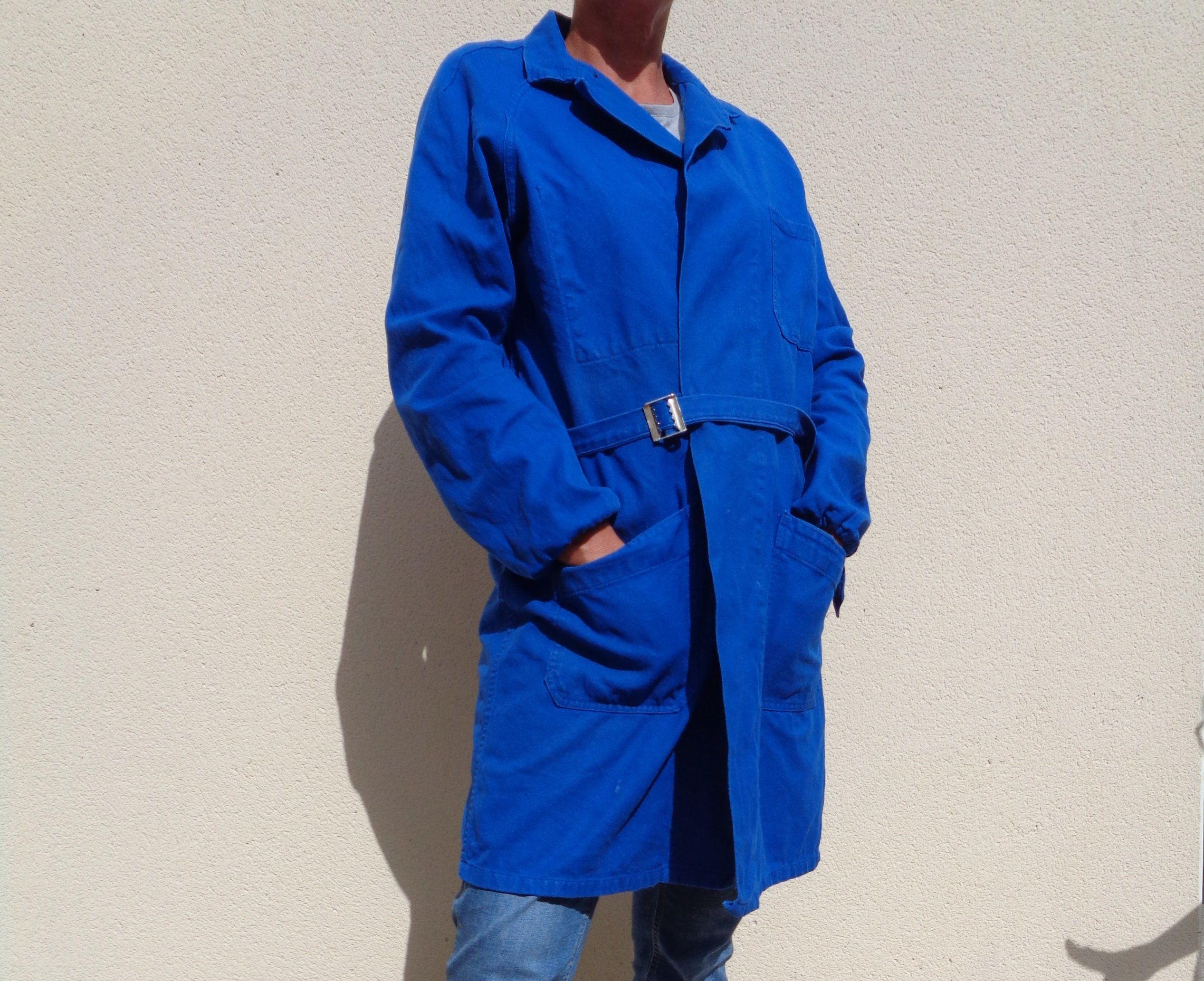 60s Stil Gewaschen Indigoblau Französisch Jacke Arbeitskleidung Mühsam Baumwolle