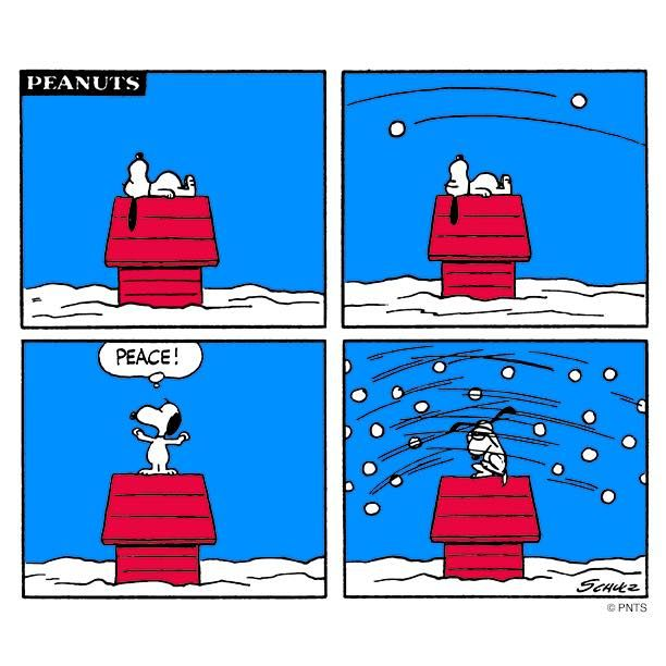 """""""PEACE"""", Snoopy tries diplomacy during a snowball fight. ; )"""