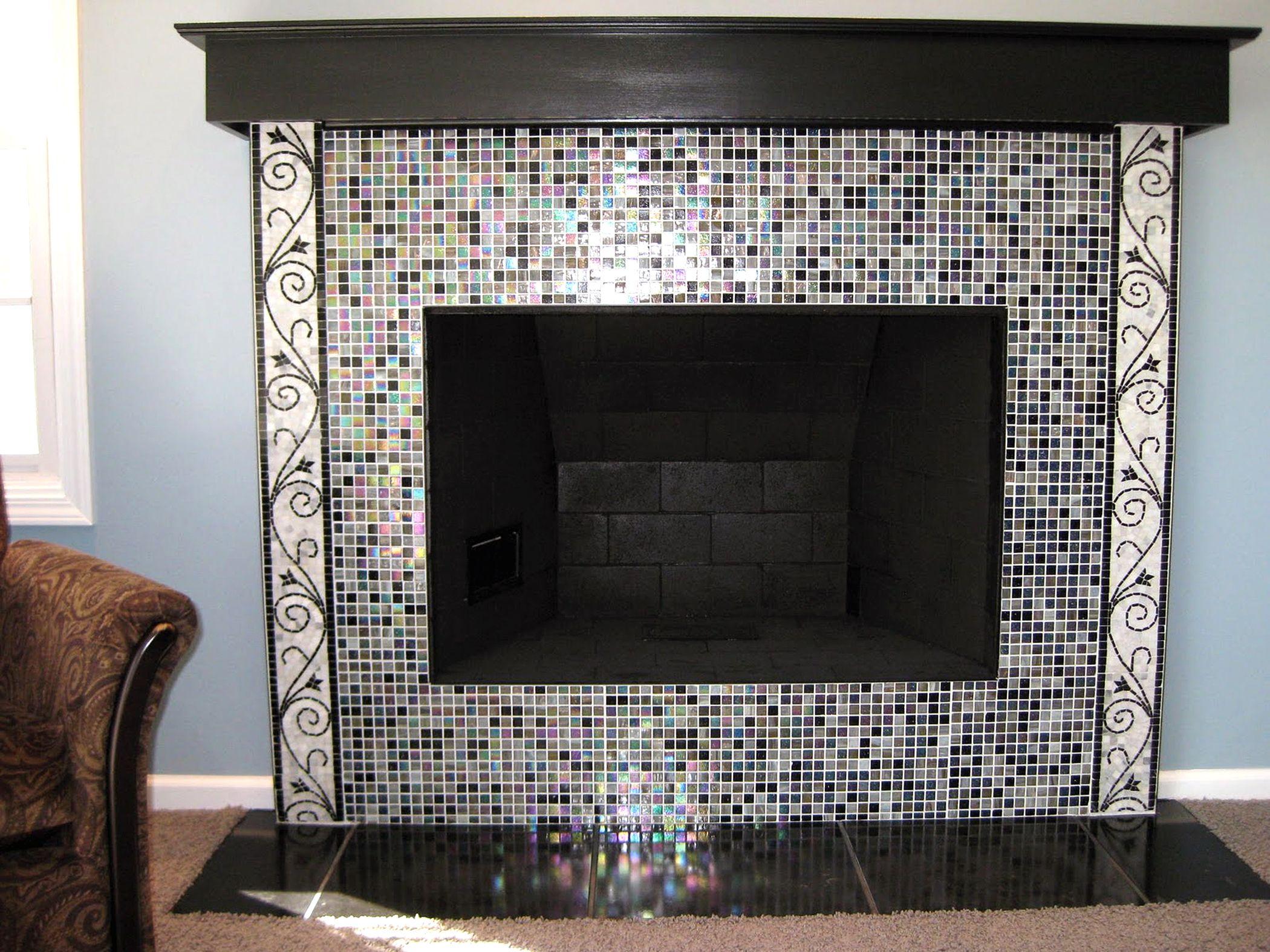 glass mosaic fireplace fireplace tile