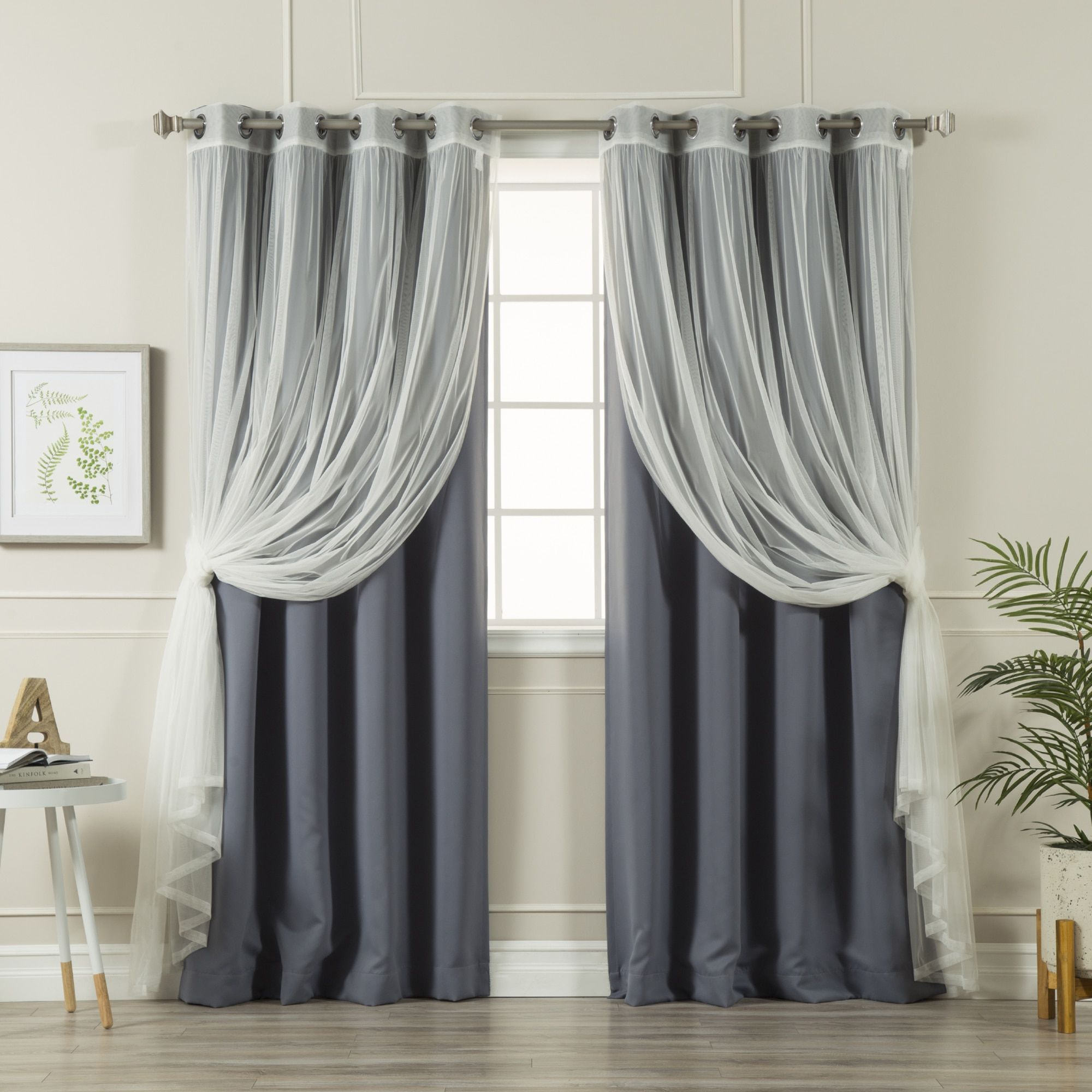 Aurora Home Mix And Match Blackout Tulle Lace Sheer 4 Piece