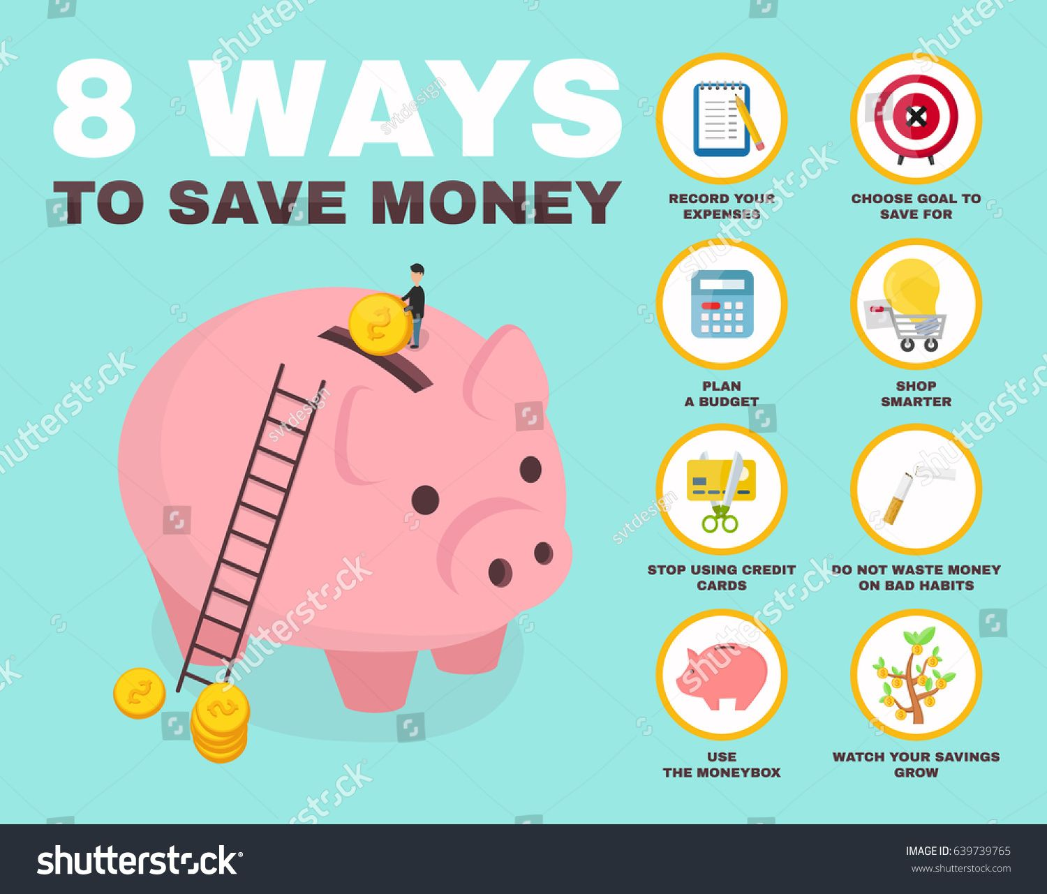 8 way to save money infographic. pig money box isometric