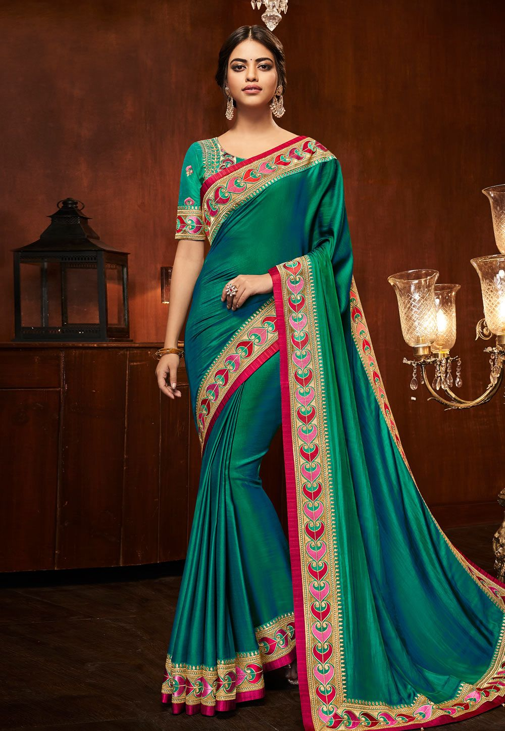 baaa14c5db05c Buy Sea Green Silk Saree With Embroidered Blouse 153860 with blouse online  at lowest price from vast collection of sarees at Indianclothstore.com.