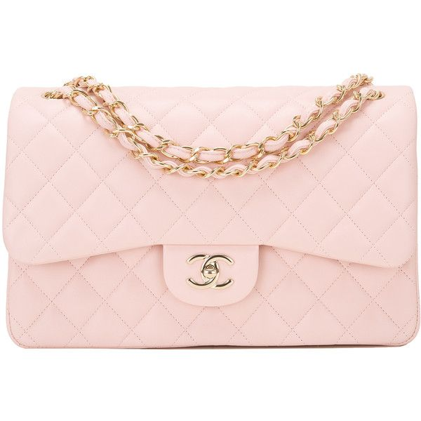 404630ff3f5c97 Pre-Owned Chanel Light Pink Quilted Lambskin Jumbo Classic Double Flap...  ($7,550) ❤ liked on Polyvore featuring bags, handbags, pink, lambskin  leather ...