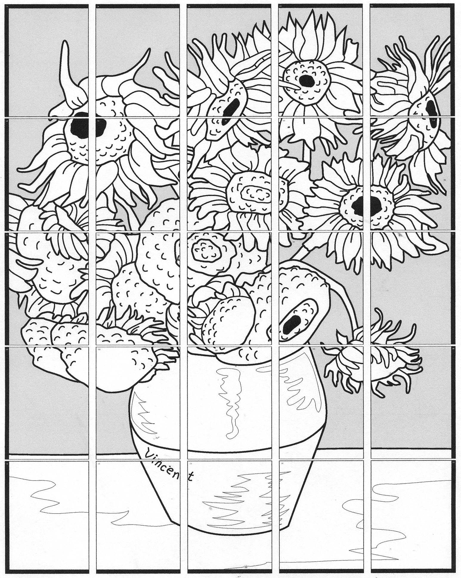 Sunflower Coloring Page Van Gogh Sunflower Coloring Page 14 Pdf