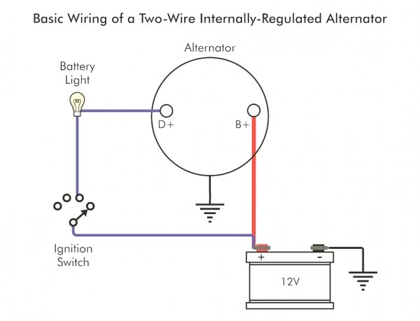 2 wire gm alternator diagram in 2020 | alternator, voltage regulator,  electrical switch wiring  pinterest