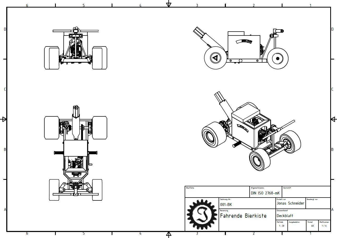 fahrende Bierkiste Zeichnung Deckblatt | Technische zeichnungen ...