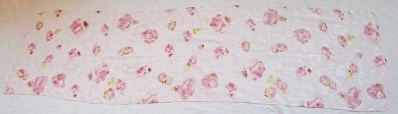 Sheer Silk Scarf with Pink Flowers by BethsMelange on Etsy, $15.00