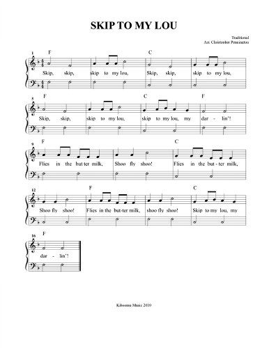 Skip to My Lou Song Sheet Music | Teach Music | Music, Sheet