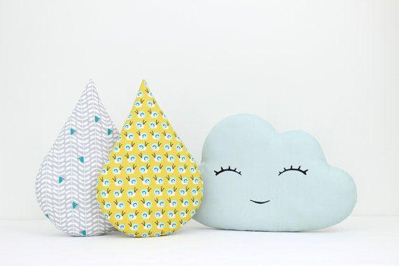 Cloud and rain drop pillows, cloud cushion, child pillow, kids ...