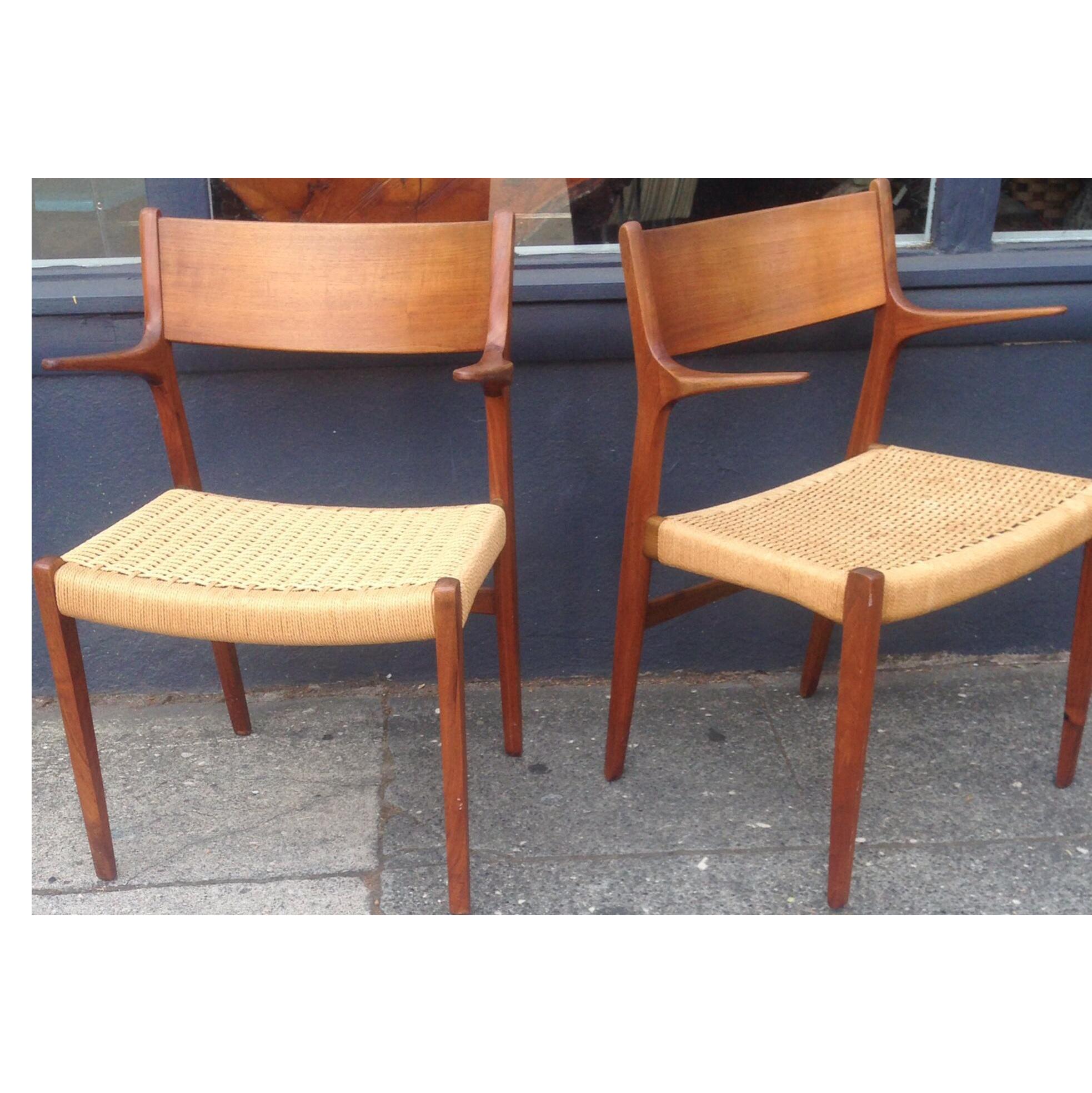 Danish Modern Teak Cord Chairs - A Pair on Chairish.com