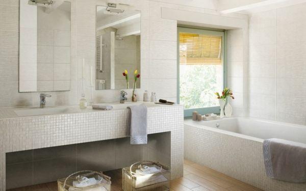 mosaik fliesen waschbecken badewanne design ideen | badezimmer, Modern Dekoo