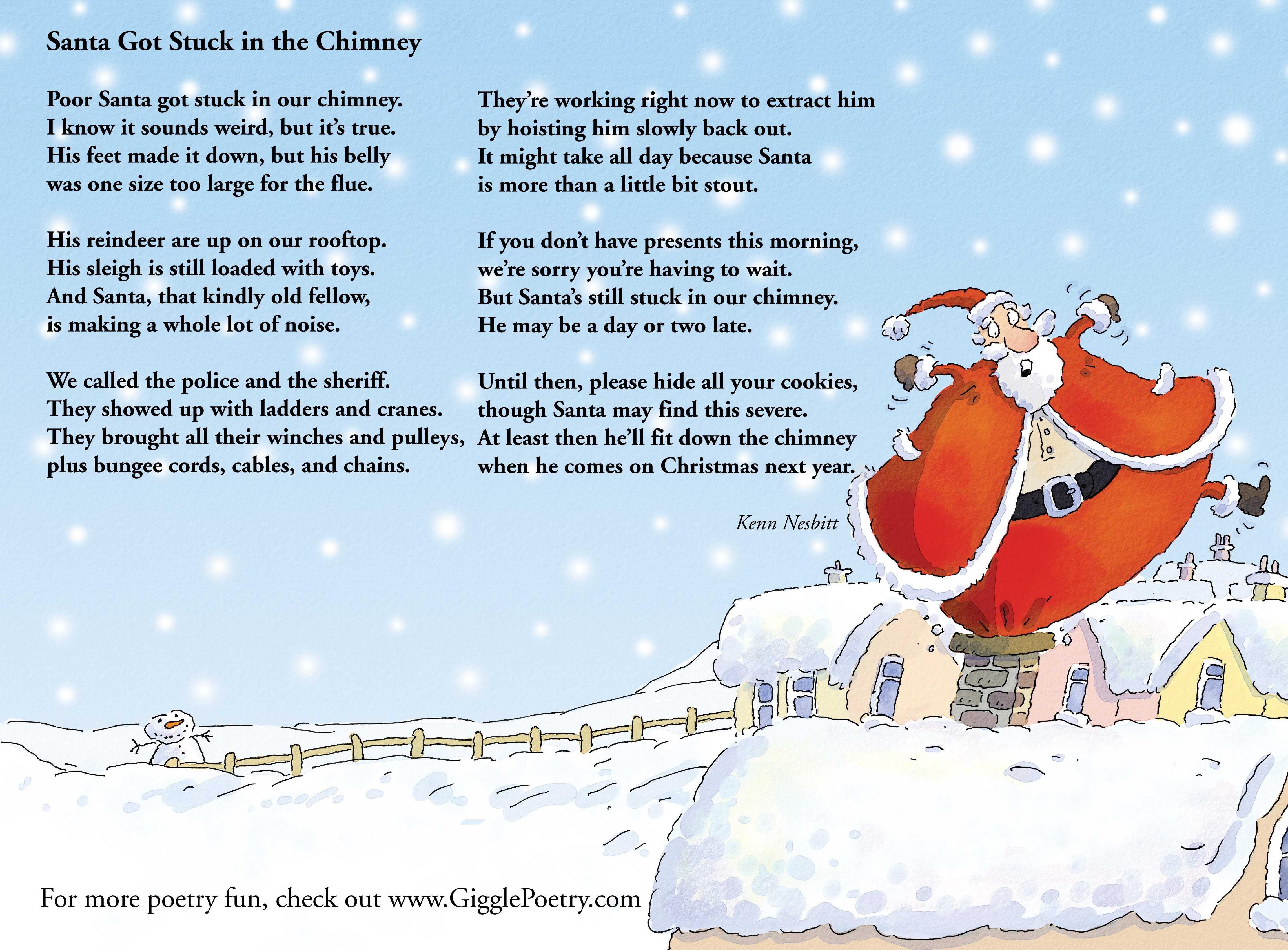 Santa got stuck in the chimney a hilarious holiday poem by kenn santa got stuck in the chimney a hilarious holiday poem by kenn nesbitt kristyandbryce Image collections