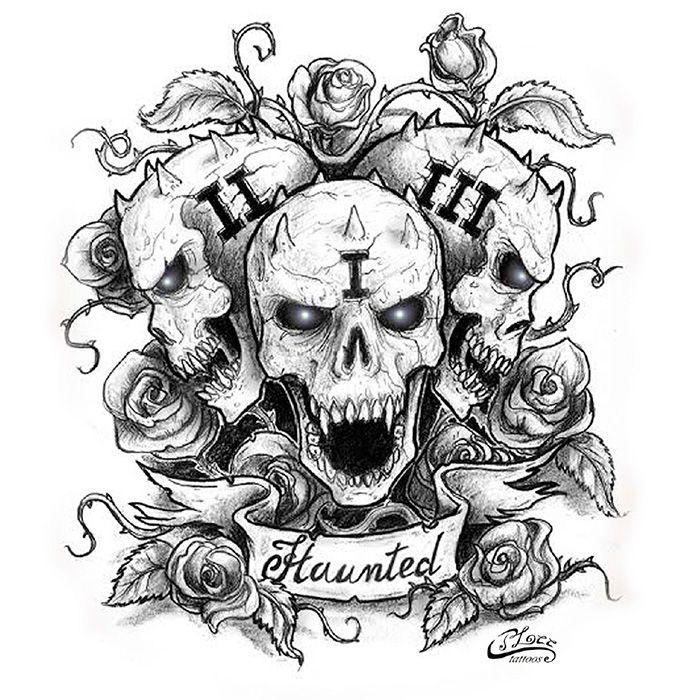 A Haunted Grave Stone And Skull Tattoo By Rui Plee Black White Custom Tattoo Design Tattoos Custom Tattoo