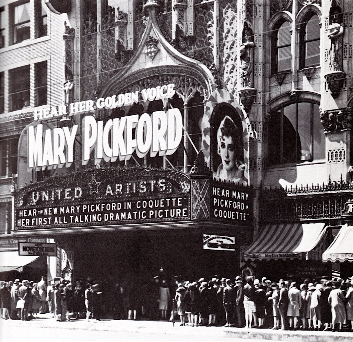 """Mary Pickford's """"talkie"""" COQUETTE (1929) at the United"""