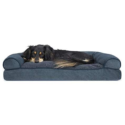"FurHaven Faux Fleece & Chenille Soft Woven Pillow Sofa Dog Bed Orion Blue, 20"" L x 15"" W | Petco"