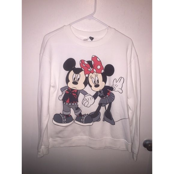 Mickey & Minnie Sweatshirt Front and back graphics, inside is soooo soft! Size small but fits up to a large comfortably. Crewneck sweatshirt, limited edition. make an offer :) Forever 21 Tops Sweatshirts & Hoodies