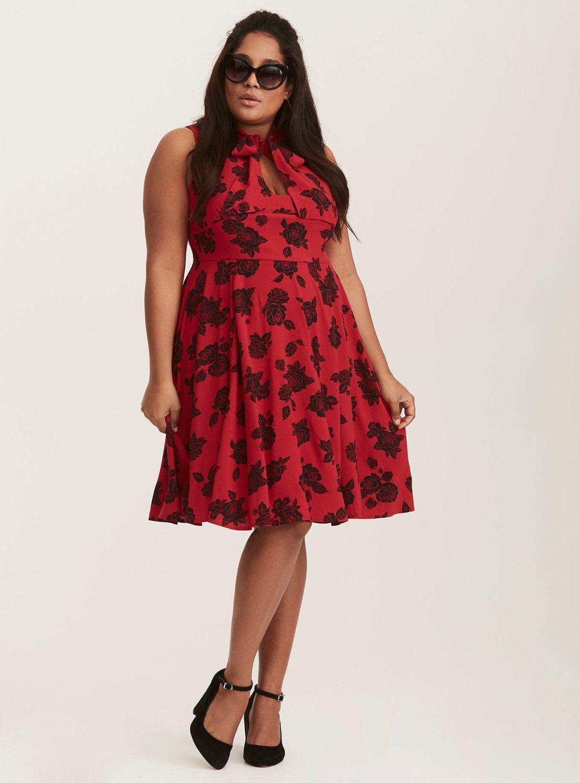 5a206b42485 Retro Chic Red   Black Floral Print Tie Neck Skater Dress   Torrid   Plus  Size   Holiday  womensfashionretrochic