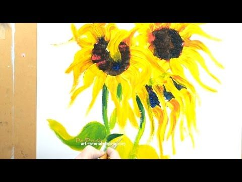 How To Paint A Sunflower Demo And Free Painting Giveaway Youtube Sunflower Painting Flower Painting Painting