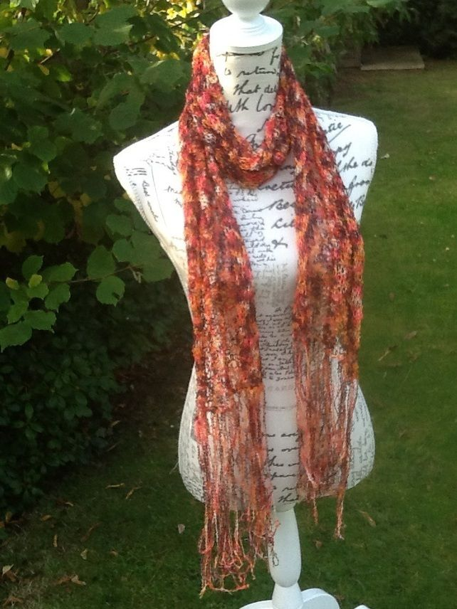 Russet Lacy Fringe Hand Knitted Scarf. £12.00