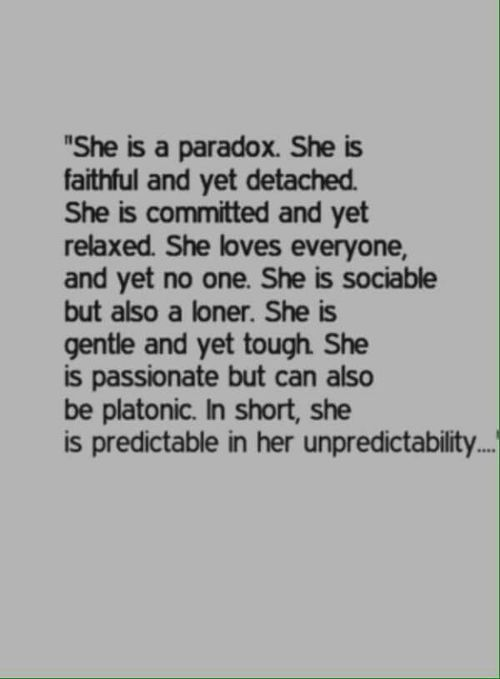 She is a paradox. uploaded by LucyMerlin on We Heart It