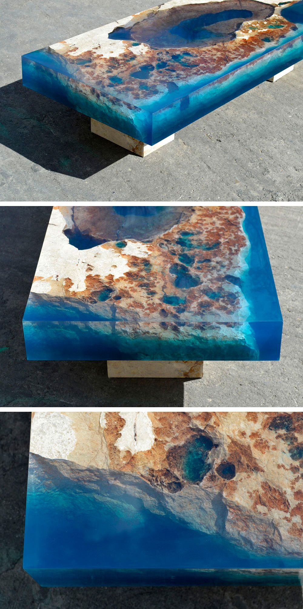 New Cut Stone Tables Encased In Resin Mimic An Ocean Reef - Incredible layered glass table mimics oceans depths