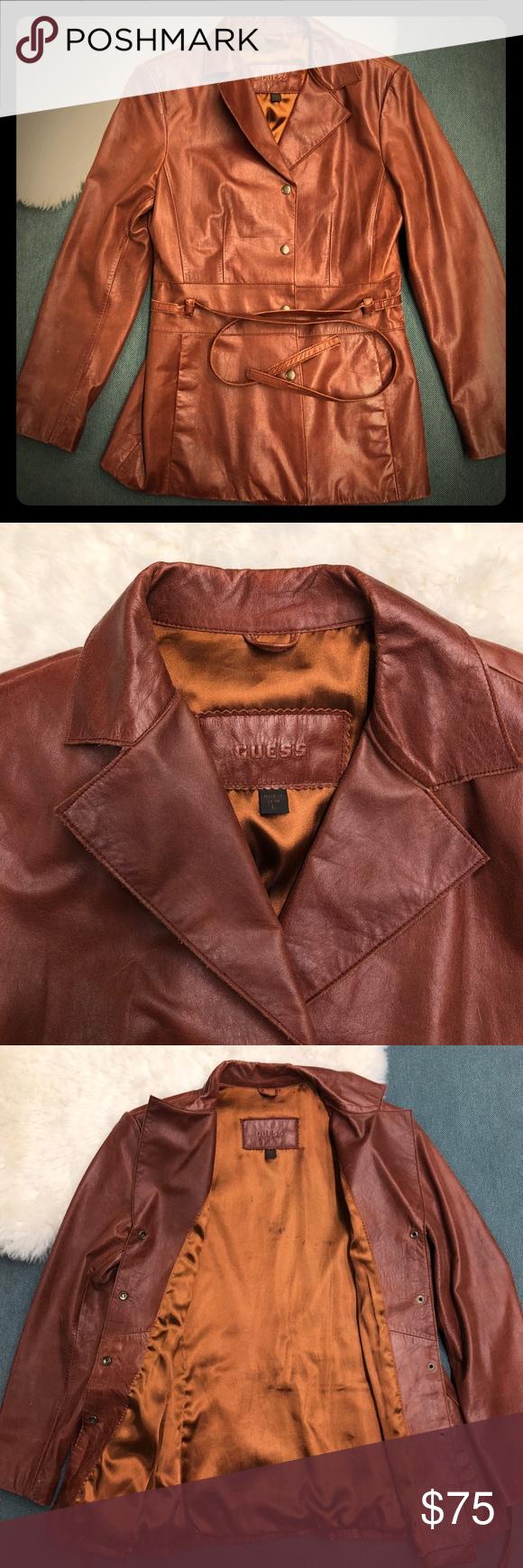 Euc Vintage Guess Brown Leather Jacket Sz L Brown Leather Jacket Leather Jacket Jackets
