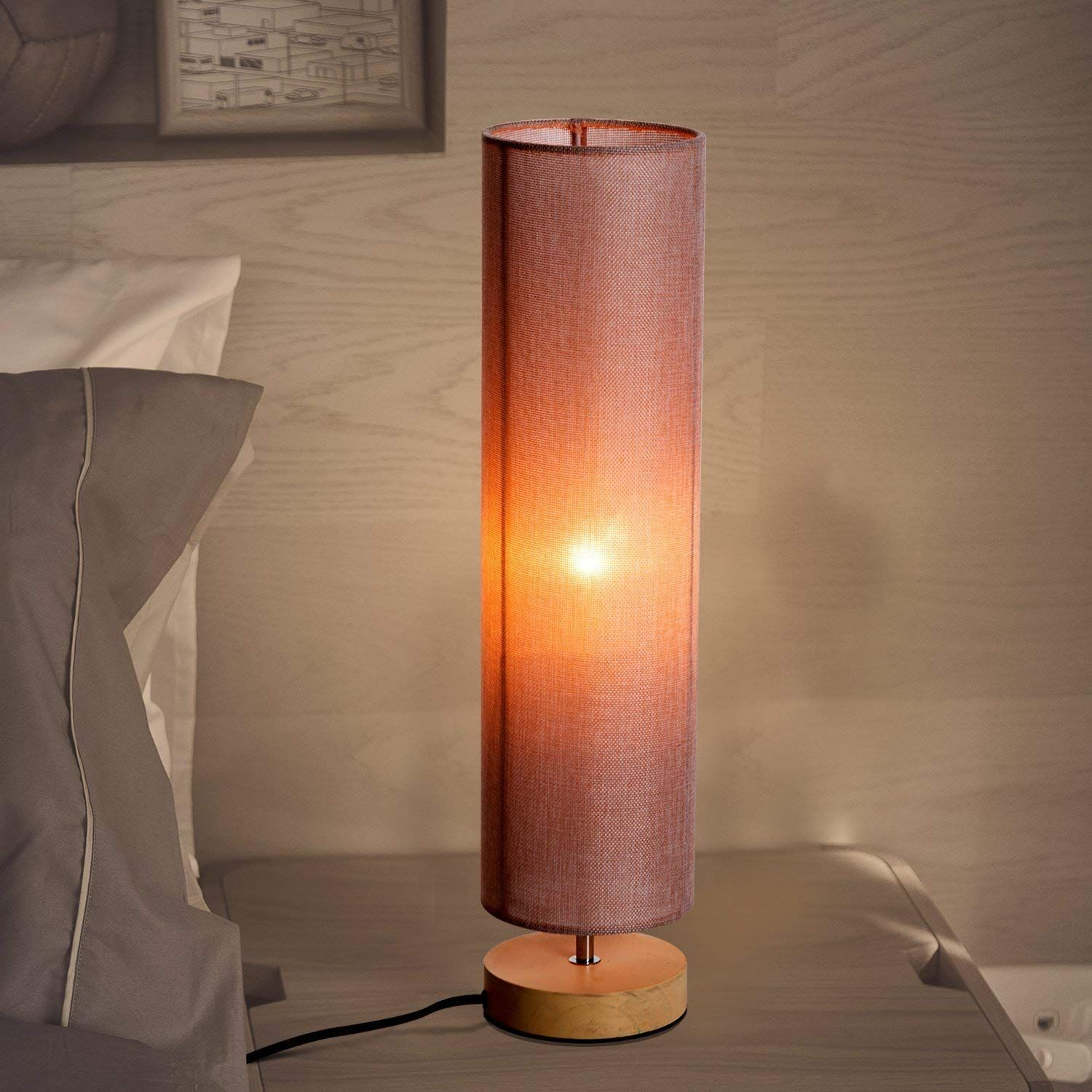 """Modern Round Minimalist Table Lamp 23"""" with Wooden Base"""
