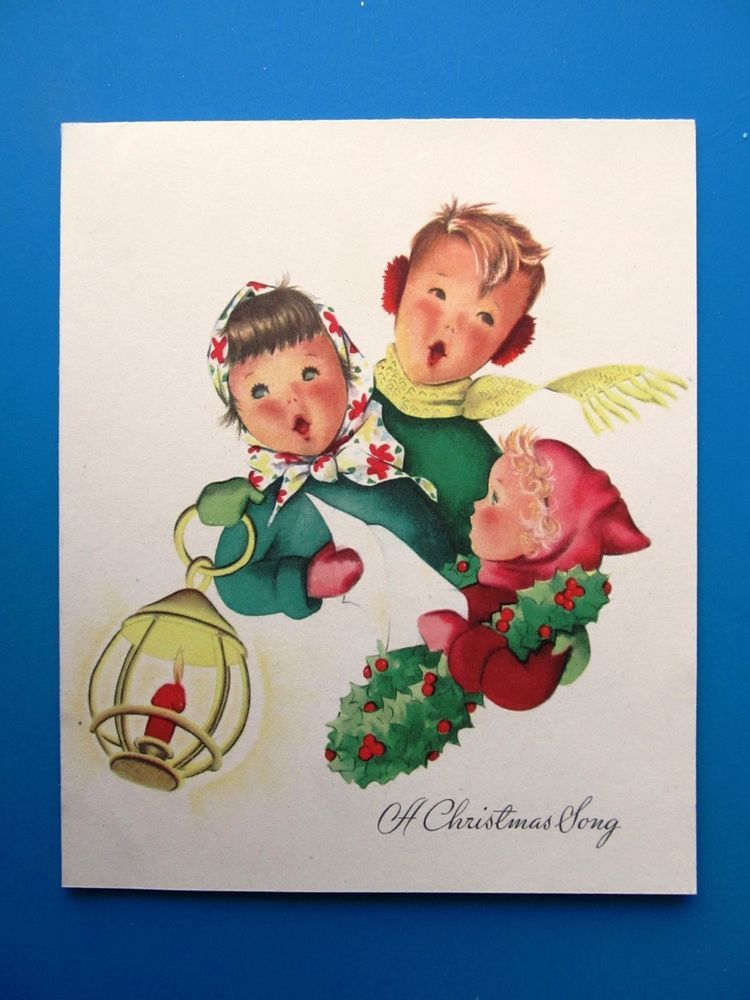Vintage christmas card 1950s children singing x mas song girl red dress coat hat