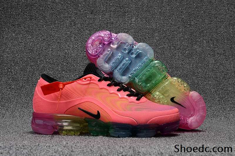 new concept fd6f2 7a985 New Nike Air VaporMax 2018 KPU Pink Rainbow Sole Women Shoes