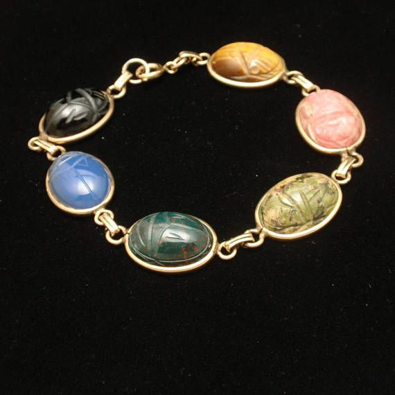 Classic 1960s Scarab Bracelet Gold Filled 8 Long With Images