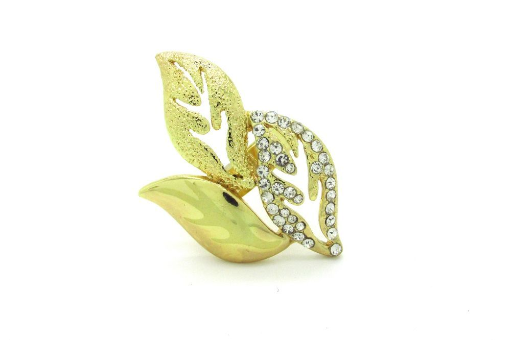 "18k Gold Filled, Leaves Style 8"" Ring With Cubic Zirconia"