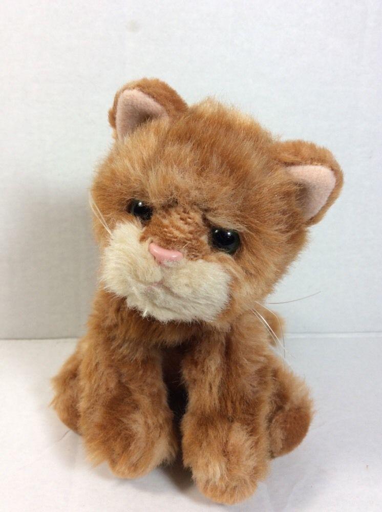 Russ Berrie Whiskers Orange Tabby Cat Plush Green Eyes