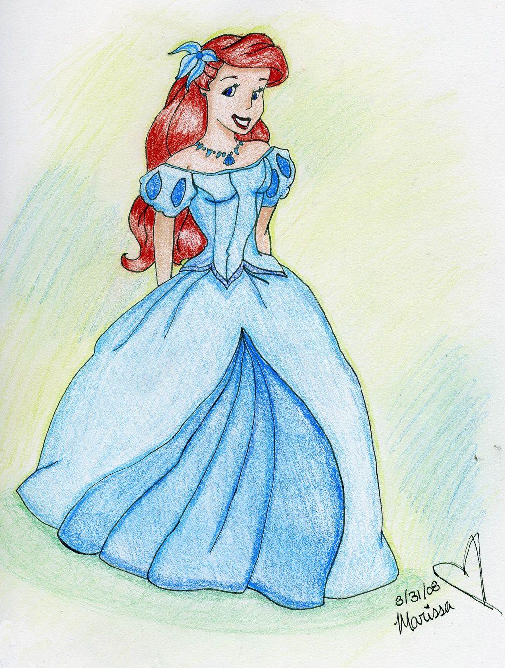 Картинки ариэль в платье для срисовки