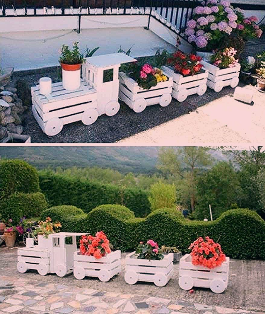 Photo of Wooden Train Garden Planter Made With Crates Video Tutorial