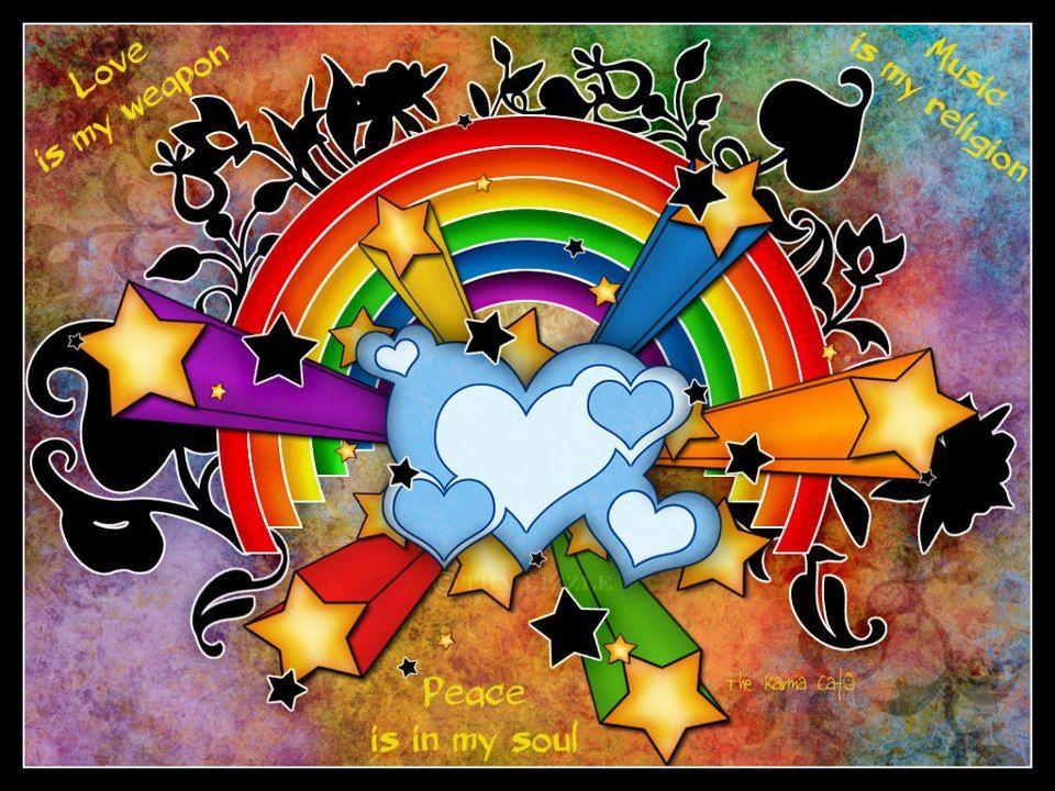 Peace Love Music Rainbow Wallpaper Art Colorful Art