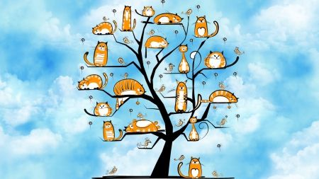 I Found This Designer Looking At Firefox Themes She Does Beautiful Designs This Cat Tree Is Adorable She Is On G Too Cat Wallpaper Cat Painting Wallpaper