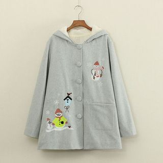 Buy Mushi Embroidered Snowman Hooded Woolen Coat at YesStyle.com! Quality products at remarkable prices. FREE WORLDWIDE SHIPPING on orders over US$�35.